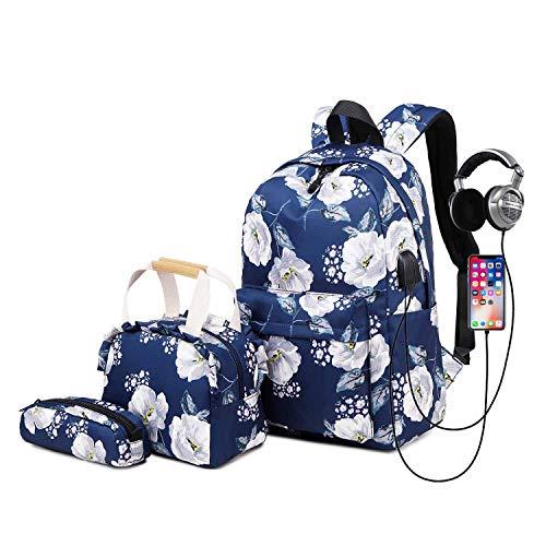 Neuleben Mädchen 3 Teile Schulranzen Leicht Wasserdicht Schulrucksack & Kühltasche & Federmäppchen mit USB Ladeport Blumenmuster (Blau)