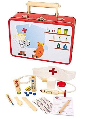 Valisette en métal de docteur ou d'infirmière avec tous les accessoires