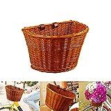 ACECITY Wicker D-Shaped Bike Basket, Portable Hand-Woven Shopping...
