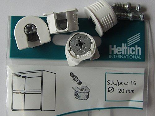Hettich Excenter Verbindungsbeschläge VB 35/16, ø 20 mm, Kunststoff weiß, 16 Stück, 62544
