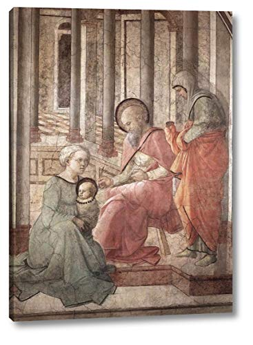 """Birth and Naming St John Detail by Fra Filippo Lippi - 17"""" x 24"""" Gallery Wrap Canvas Art Print - Ready to Hang"""