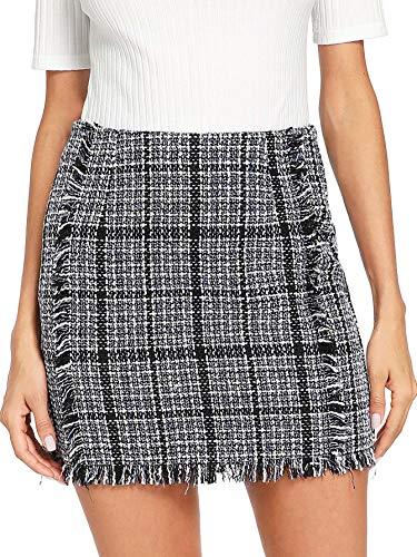 Floerns Women's Striped Zipper Raw Hem Smock Skirt Grey M