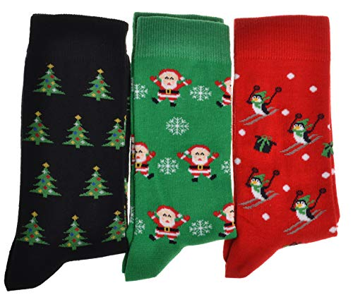 3 Pairs of CHRISTMAS Socks,Red, LARGE 8-11