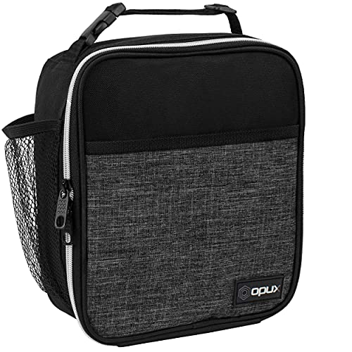 OPUX Premium Insulated Lunch Box | Soft Leakproof School Lunch Bag for Kids, Boys, Girls | Thermal Reusable Work Lunch Pail Cooler for Adult Men, Women, Office Fits 6 Cans (Heather Charcoal)