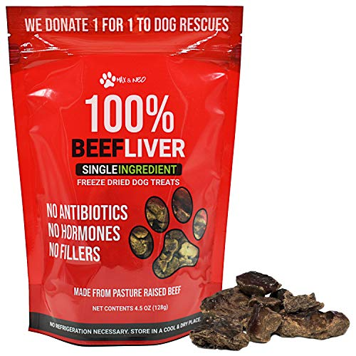 Max and Neo Freeze Dried Beef Liver Dog Treats - Single Ingredient, Pasture Raised, Grass Fed, Human Grade Beef Grown in The USA - We Donate 1 for 1 to Dog Rescues for Every Product Sold