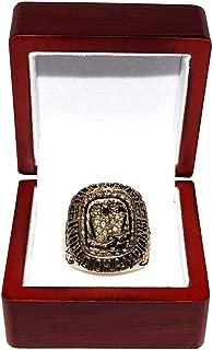 HOUSTON ROCKETS (Hakeem Olajuwon) 1995 NBA FINALS WORLD CHAMPIONS (Back 2 Back Champs) Collectible High-Quality Replica NBA Basketball Gold Championship Ring with Cherrywood Display Box