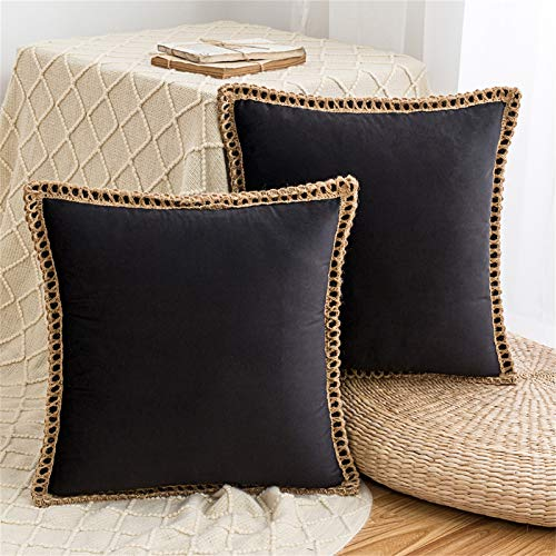 HAUSEIN 2 Pack Velvet Throw Pillow Covers Decorative Pillowcase, Trimmed Edge Square Soft Solid Cushion Case, for Couch Sofa Bedroom Car 45x45 cm, Black