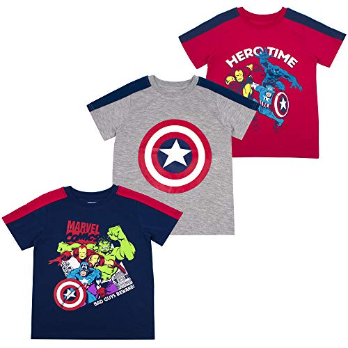 Marvel Boys 3-Pack T-Shirts: Spiderman & Avengers Superheroes, Red, 3T