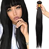 60cm Extensiones de Cortina Pelo Natural [Brazilain Human Hair Bundles] #1B Negro Natural (1 Bundle,100g)