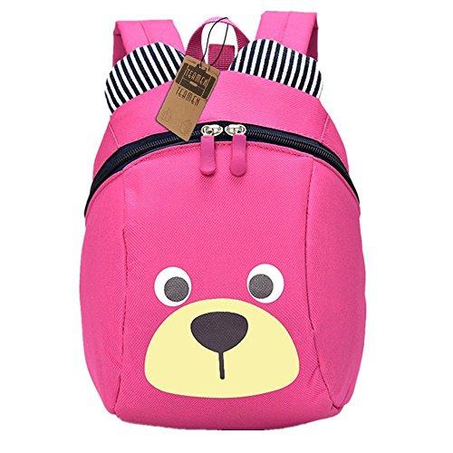 Kinderrucksack TEAMEN Anti verloren Kinder Rucksack Mini Bär Schule Tasche für Baby Jungen Mädchen Kleinkinder 1-3 Jahre (Rosa)
