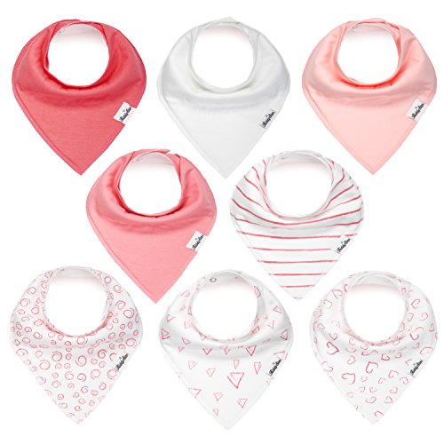 Bandana Bibs for Girls, Set of 8 Baby Drool Bibs with Adjustable Snaps, Soft, Absorbent, Organic Cotton, Newborn Baby Shower Gift, Toddler Girl Bibs for Drooling, Teething and Feeding by KiddyStar