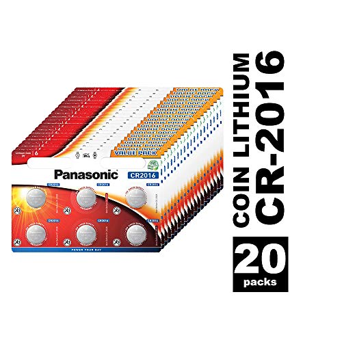 Panasonic CR2016 Lithium Knopfzelle, 3V, 20 Packungen (120 Stück)