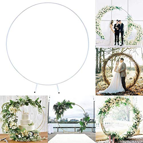 XUNTUO Wedding Mariage Round Backdrop Arch Stand Birthday Party DIY Decoration Stage Circle Outdoor Christmas Frame 1.5m/MilkyWhite