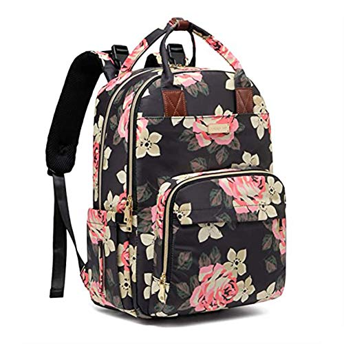 XRQ Diaper Bag Backpack, Baby Diaper Bag Large Capacity Floral Diaper Backpack for Baby Girl and Mom, Multi-Function Waterproof Travel Back Pack Built-in USB Charging Port