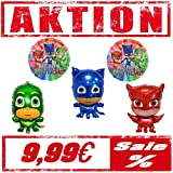 Generisch Pyjamahelden PJ Masks Folienballon Figuren 5er Pack mit Gekko Eulette & Catboy Ballon Luftballon Kindergeburttag 5 er Set Deko Kinder Party