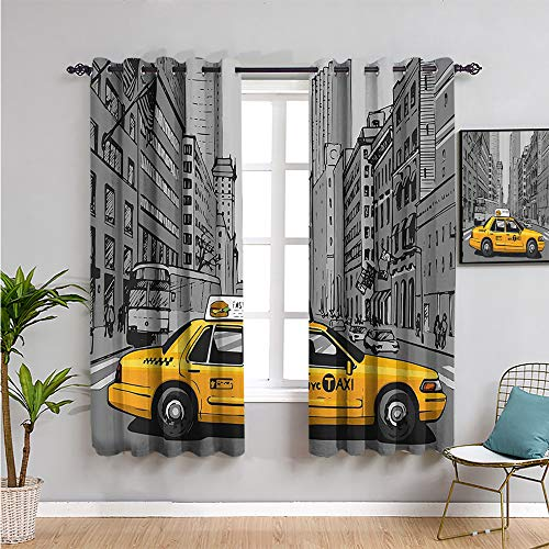 American Black Out Window Curtain 2 Panel, Curtains 63 inch Length New York City Metropolitan Buildings and Taxi Cartoon Sketchy Image Easy to Clean Charcoal Grey and Yellow W63 x L63 Inch