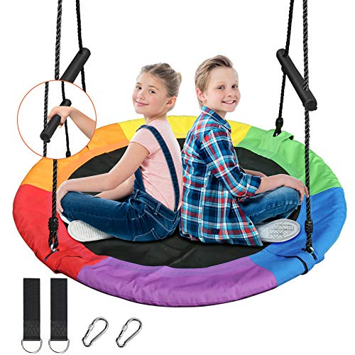 Treeswin Saucer Tree Swing 40 Inch, 700 lb Weight Capacity Outdoor Flying Swing with Tree Strap, 900D Oxford Fabric Waterproof Durable Steel Frame and Carabiner for Playground and Backyard (Rainbow)