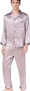 BSKY 100%絹 メンズ シルクパジャマ前開き パジャマ シルクパジャマ 男性パジャマ 寝間着 ナイトウェア 紳士長袖上下セット 父の日 プレゼント