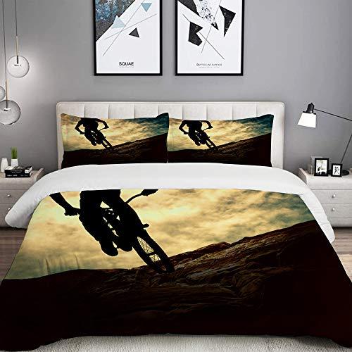 MOBEITI Bedding Juego de Funda de Edredón,Deporte Silueta de Hombre en Bicicleta de montaña Bicicleta de montaña Sunset de Muontain,Microfibra Funda de Nórdico y Fundas de Almohada - 220 x 240cm