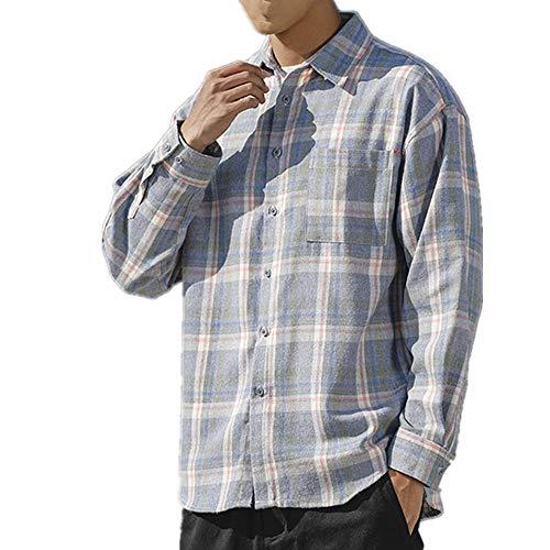 N\P Camisa a cuadros de los hombres de manga larga otoño invierno camisa de los hombres de la juventud