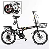 Bicicleta de montaña para niños de 20 pulgadas, plegable, unisex, 7 velocidades, con freno de disco ajustable,