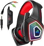 Hunterspider PS4-Headset – Gaming-Headset für Xbox One, mit Surround-Sound, RGB-LED-Licht und Mikrofon mit Geräuschunterdrückung für PS4, PC, Mac, Xbox One (Adapter nicht im Lieferumfang enthalten)