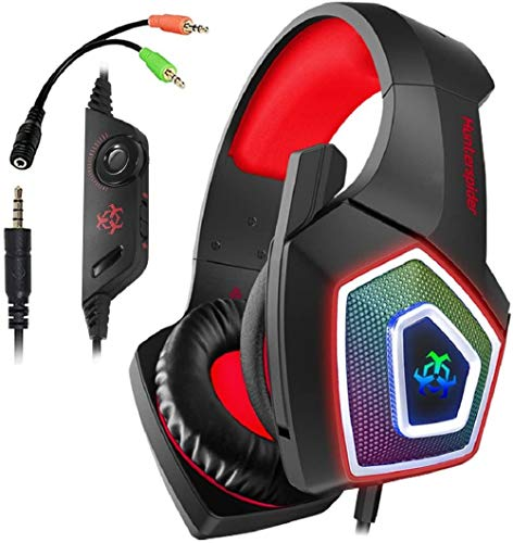 Hunterspider PS4 Headset -Gaming Headset Xbox one Headset Gaming Headphone with Surround Sound, RGB LED Light & Noise Canceling Microphone for PS4,PC,Mac,Xbox One(Adapter Not Included) Box GEM Headsets