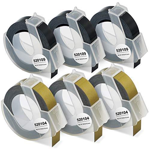 6 Superpage Kompatibel 3D Prägeband als Ersatz für Dymo Embossing 3D Kunststoff Prägebändern für Dymo Omega Junior Embosser,Old Rotex Embosser,Oldschool Label Maker,3xWeiß auf Schwarz,3xWeiß auf Gold