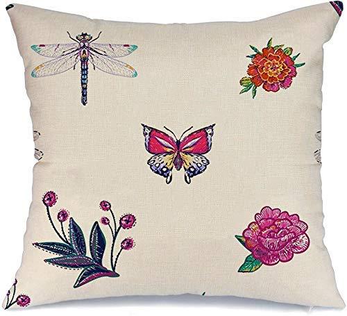Funda de Cojine Throw CojínCaballito del diablo Libélula Mariposa tropical Diseño divertido de alas de abeja Abejorro rojo Aeshnidae Planta Flor Fundas para almohada 45X45CM