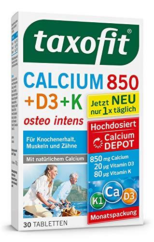taxofit® Calcium 850 + Vitamin D3 + K Depottabletten hochdosiert für Knochen, Muskeln und Zähne (30 Tabletten)