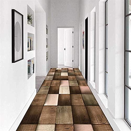 Alfombra de pasillo larga 3D, antideslizante, resistente al desgaste y a la humedad, 0,7 cm de grosor, color A, tamaño: 100 x 700 cm
