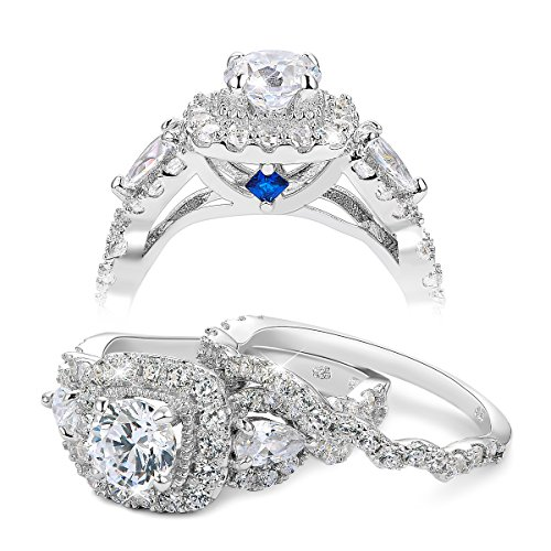 Newshe Engagement Wedding Ring Set for Women 925 Sterling Silver 2.4ct Round Pear White Cz Size 6