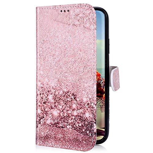 Uposao Kompatibel mit Samsung Galaxy A70 Hülle mit Bunt Muster Motiv Brieftasche Handyhülle Leder Schutzhülle Klappbar Wallet Tasche Flip Case Ständer Ledertasche Magnet,Rose Gold