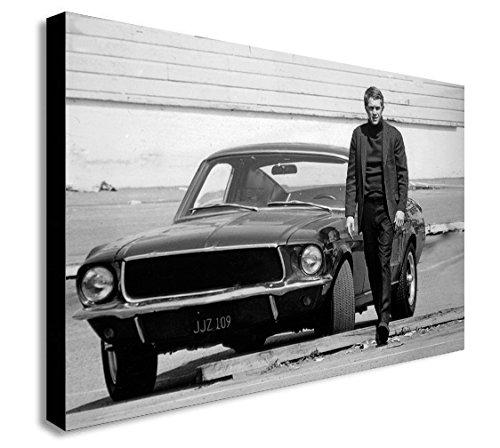 Steve McQueen Leinwandbild, Motiv Ford Mustang aus dem Film: Bullit, verschiedene Größen, holz, A1 32x24 inches
