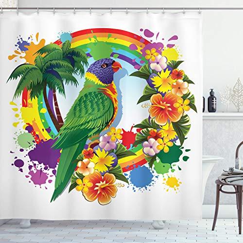 ABAKUHAUS Papegaai Douchegordijn, Palms Tropical Plants, stoffen badkamerdecoratieset met haakjes, 175 x 200 cm, Veelkleurig