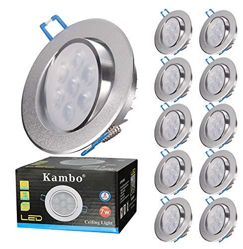 Focos Empotrables LED Kambo Focos Led Empotrables en Techo 7W Frío Blanco 6000K 630LM Redondo Ø85-90mm Ángulo Rotable 30° AC 230V Downlight Led Ojos de Buey de LED 10PCS
