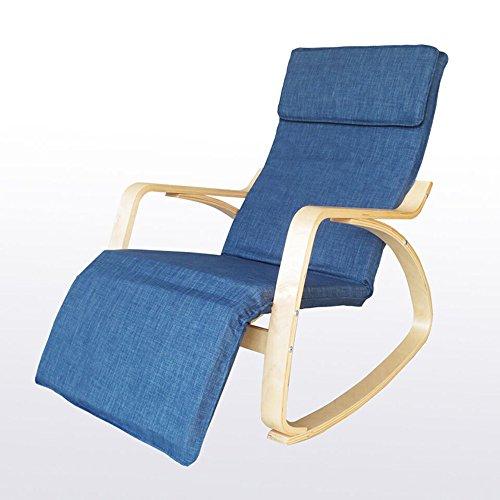 Chair Zhaizhen Chaise longue à bascule inclinable en bois massif pour adulte Couleur : bleu