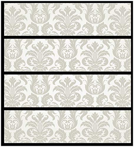 Wallario Möbelfolie/Aufkleber, geeignet für IKEA Malm Kommode - Königliche Schnörkelei in weiß und beige mit 4 Schubfächern