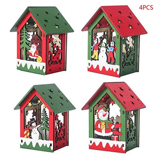 YFairy – Adorno de Navidad, 4 Unidades, luz LED, casita de Madera, Adornos de Navidad, árbol de Navidad Colgante