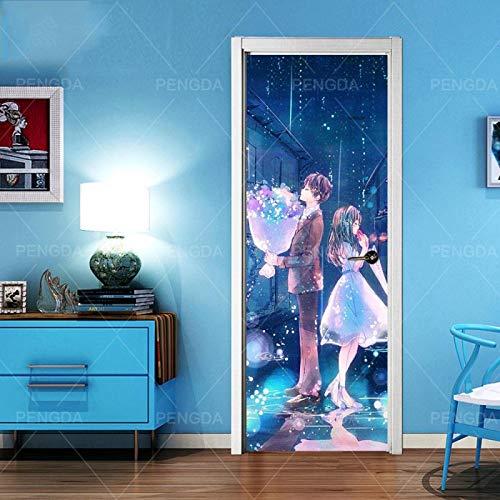 WZKED 3D tecknad romantisk pardörr väggmålningar väggklistermärke för heminredning konstdekal självhäftande dekal sovrum vardagsrum affisch dörrklistermärke 77 x 200 cm
