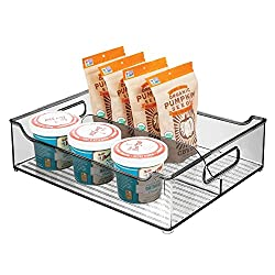 divided acrylic organizing bin with handles
