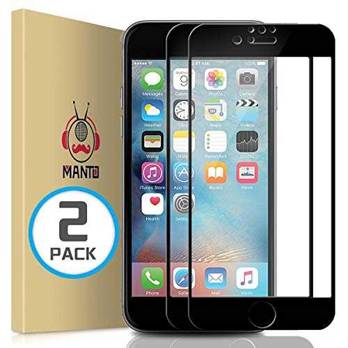 MANTO (2 Pack) iPhone 7 8 6S 6 Screen Protector, Full Coverage Tempered Glass Screen Protector Film Edge to Edge Protection Compatible with iPhone 7, iPhone 8, iPhone 6S, iPhone 6, 4.7 Inch, Black