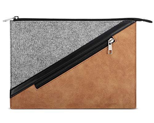 Dadanism 9-11 Zoll Tablet Hülle Sleeve für New iPad 10.2 2020/2019, iPad Air 4 10.9 2020, iPad Pro 11 2020, iPad 9.7/Air 10.5, Weich Robust Filz + PU Leder, mit Außen Reißverschlussfach - Grau und Braun