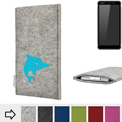 flat.design Handy Hülle für Ruggear RG850 FARO mit Delphin handgefertigte Filz Tasche fair