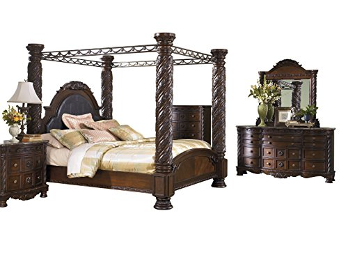 New North Shore 5 PC Bedroom Set: E King Poster Canopy Bed Dresser Mirror 1 Nightstand Chest - Ashle...