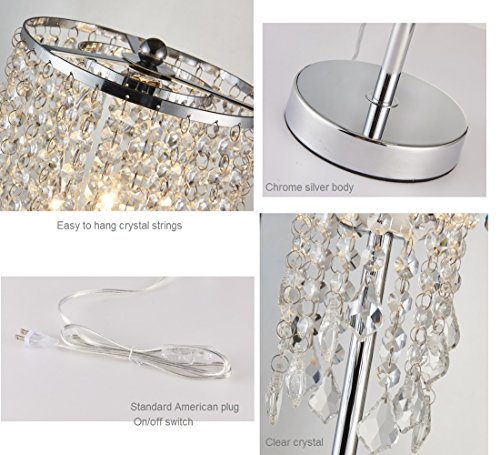 Surpars House Raindrop Silver Crystal Table Lamp for Bedroom,Living Room,Girls Room or as Wedding Gift