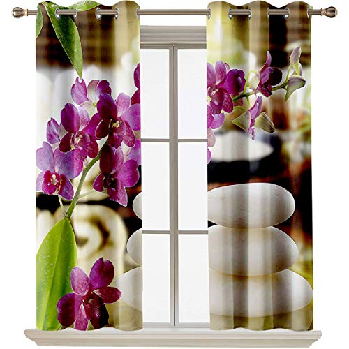 """Spa Decor besthomefashionthermalinsulatedblackoutcurtains Luxury on Top Spa Day with Stones Herbal Salts and Exotic Flowers Suitable forFit Window Curtain Assorted Colors, Styles & Sizes W63""""x"""