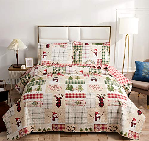 Christmas Quilt Set Full/Queen Size Red Green Plaid Patchwork Quilt Set Lightweight Bedspread Coverlet Snowman Pattern Bedding Bed Set Gift for Kids Girls Adults,1 Quilt,2 Pillow Shams