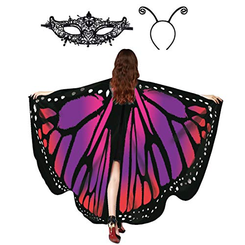 Butterfly Wings Shawl Halloween Costume Ladies Cape Lace Mask Antenna Headband Purple Red