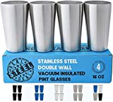 Real Deal Steel Stainless Steel Pint Glasses: Double Wall Vacuum Insulated Metal Cups to Keep Drinks Cold or Hot - Set of 4 Rimless, Sweat Free Beer Tumblers (Stainless Steel)